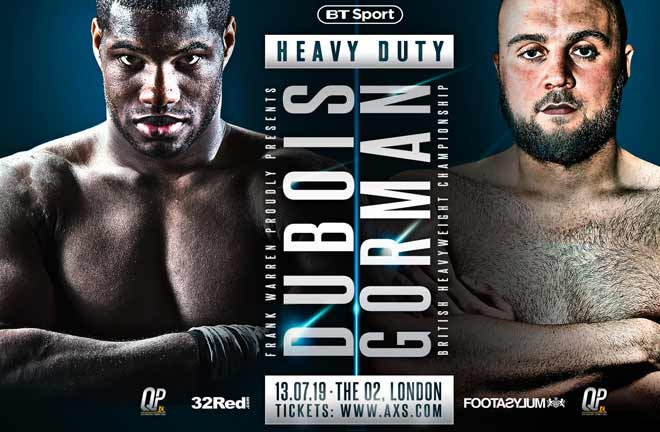 Dubois-Gorman go head to head on July 13 at The O2. Credit: Frank Warren