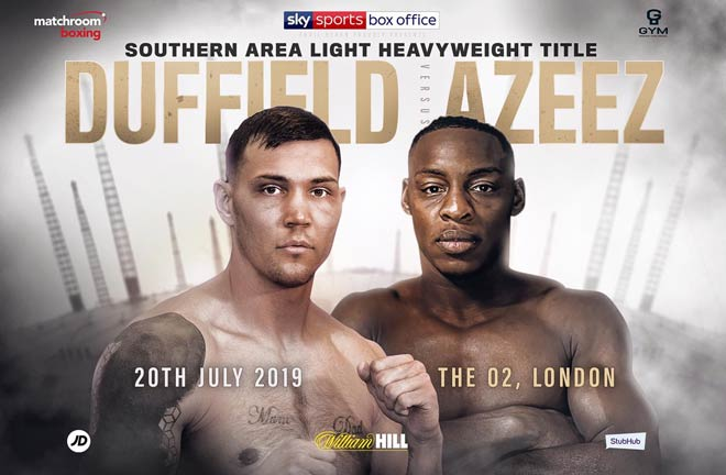 Charlie DuffieldandDan Azeezclash for the Southern Area Light-Heavyweight title. Credit: Matchroom Boxing