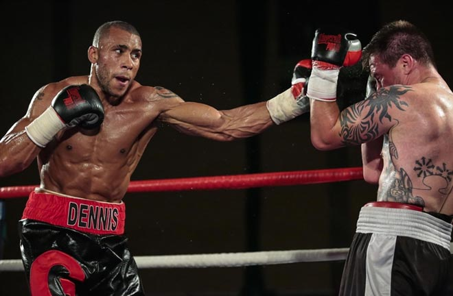 Grant Dennis takes on Joe Hurn. Credit: Kent Online