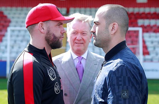 Saunders-Isufi face off ahead of their fight this weekend. Credit: Daily Mail