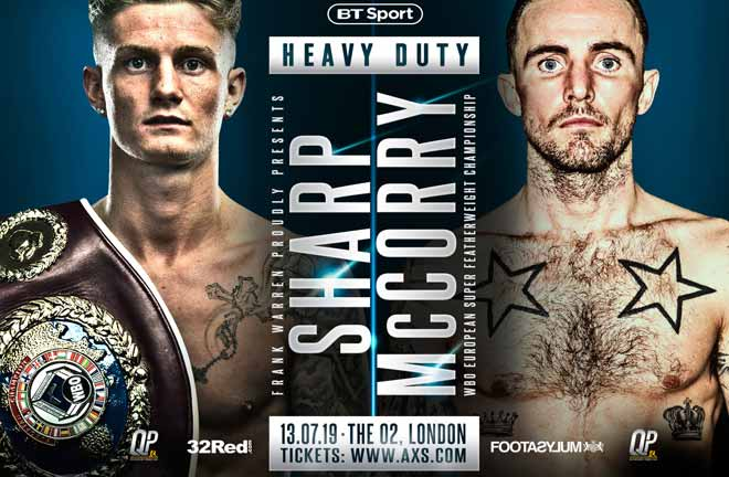 Archie Sharp takes on Jordan McCorry at The O2, London on July 13. Credit: Frank Warren