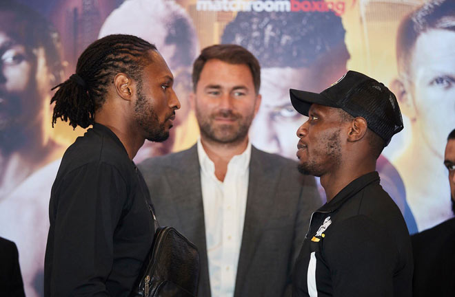 Richards-Sterling face off ahead of their fight this Friday night. Credit: Matchroom Boxing