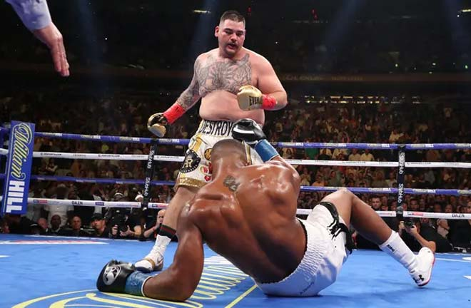 Ruiz Jr knocked Joshua down 4 times during the fight. Credit: The Guardian