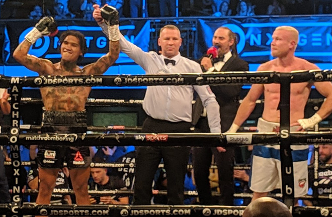 Conor Benn showed signs of his former self with a spectacular second round KO win over Jussi Koivula.
