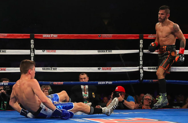 Luke Campbell hit the canvas against Jorge Linares.