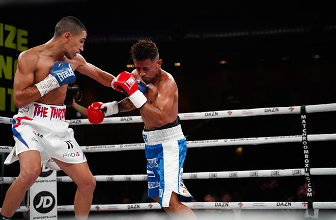 Jordan Gill with a unanimous six round points win against Yesner Talavera. Credit: Matchroom Boxing
