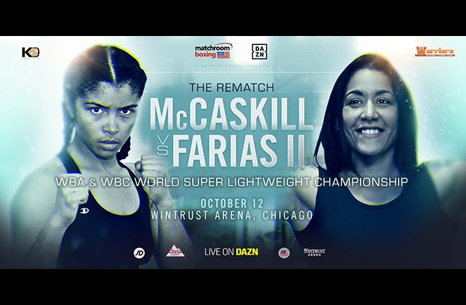 Jessica McCaskill will defend her WBA and WBC World Super-Lightweight titles against Erica Farias. Credit: Matchroom Boxing