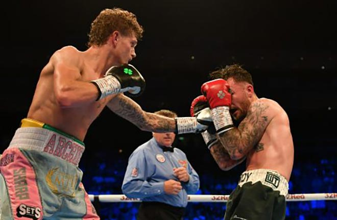 Archie Sharp takes on the talented Irishman Declan Geraghty. Credit: South London Press