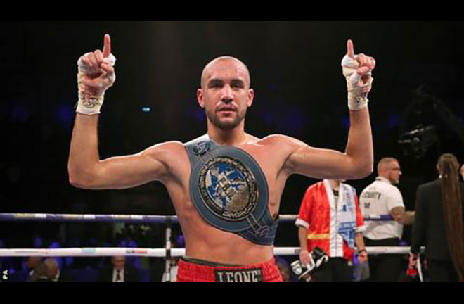 Francesco Patera made a third successful defence of his European Lightweight title in Milan Credit: BBC