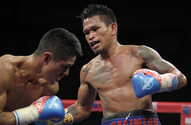 Casmiero knocked out Cesar Ramirez & retained his WBO interim bantamweight title. Credit: Rappler