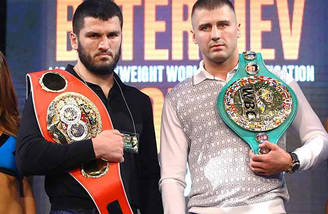 Beterbiev-Gvozdyk face off pre-fight. Credit: Boxing Scene