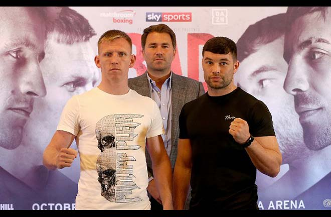 Cheeseman-Fitzgerald face off at the previous Press Conference. Credit: Boxing Scene