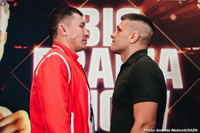 Golovkin-Derevyanchenko face off. Credit: Boxing News 24