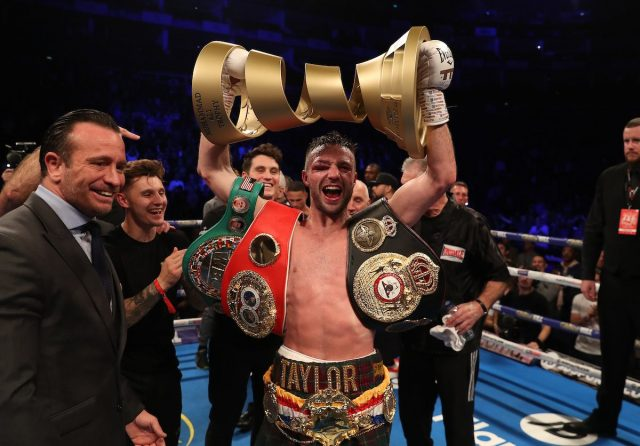 Josh Taylor picked up the Muhammad Ali Trophy after becoming unified champion against Regis Prograis Credit: Matchroom