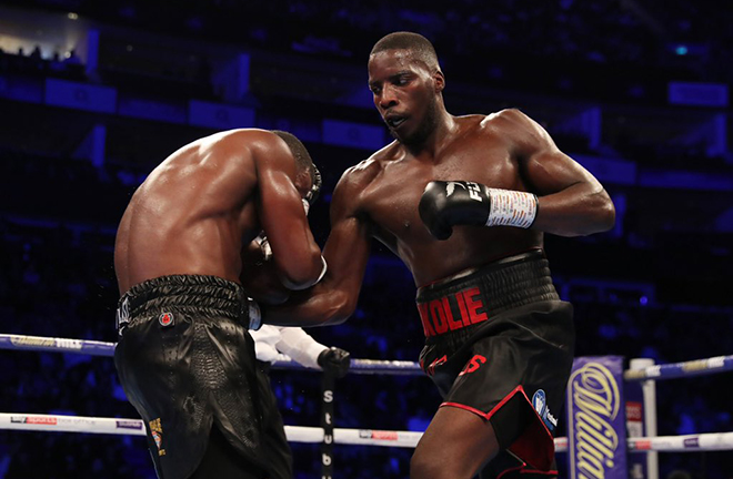 Lawrence Okolie became European champion after stopping Yves Ngabu Credit: Matchroom