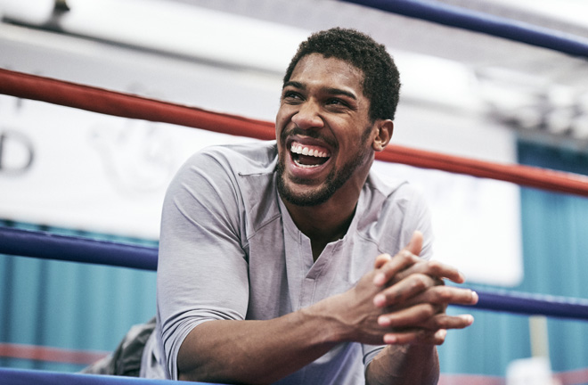 Joshua was in high spirits as he finished off his training camp in Sheffield Credit: Matchroom Boxing