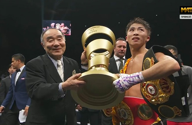 Inoue presented with the Ali Trophy after a classic battle with Nonito Donaire.