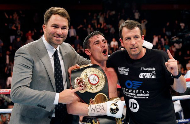Joe Gallagher, Anthony Crolla and Eddie Hearn. Photo credit: manchestereveningnews.co.uk
