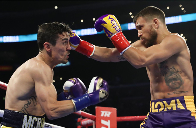 Crolla battling greatness against Lomachenko. Photo credit: Sky sports.