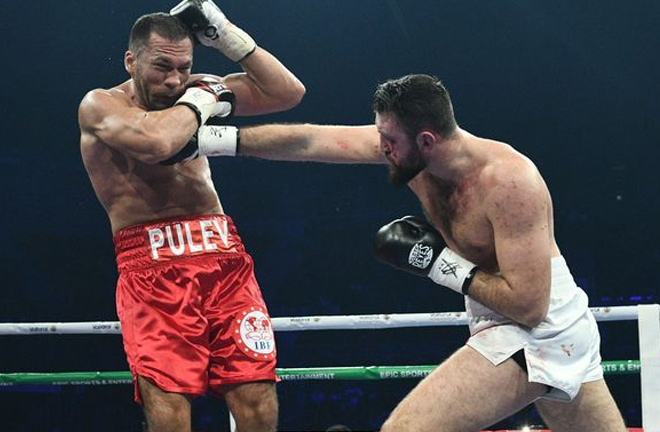 Hughie Fury confronts Kubrat Pulev.  Photo credit: mirror.co.uk