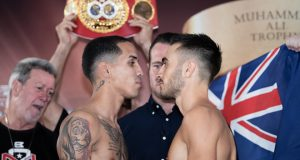 Jason Moloney facing off against Manny Rodriguez. Photo credit: worldboxingsuperseries.com