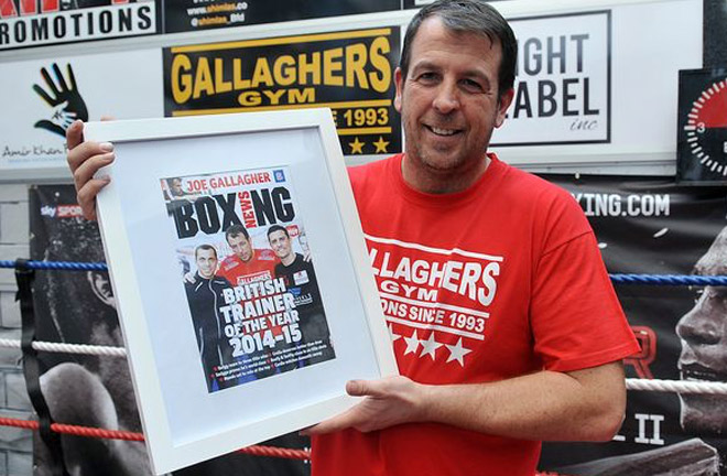Joe Gallagher with one of his awards. Photo credit: manchestereveningnews.co.uk