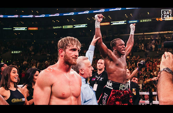 KSI edged out Logan Paul on a split decision to end their grudge in LA Credit: DAZN USA