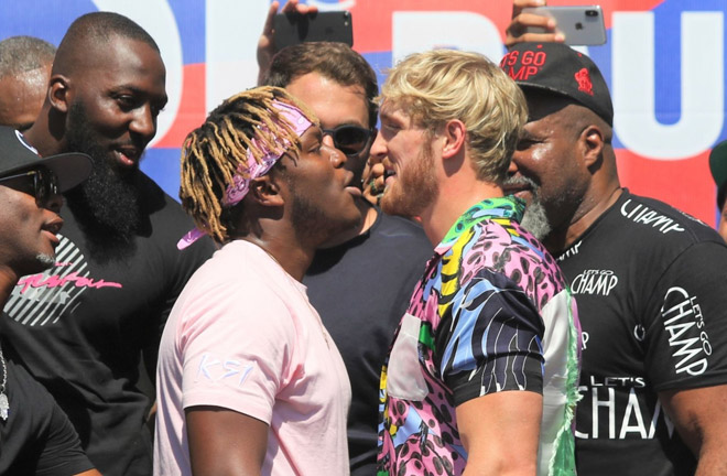 KSI head to head with Logan Paul. Photo credit: Sky Sports