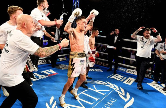 The jubilation and disbelief all caught in one photo after Lee McGregor beat Kash Farooq. Photo credit: daily record.co.uk