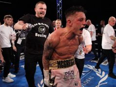 Lee McGregor cannot hide his elation after seeing off former amateur teammate Kash Farooq Credit: MTK Global