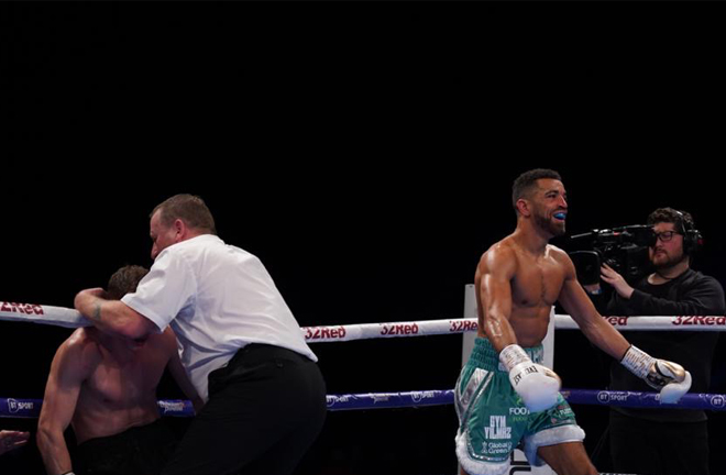 Sam Maxwell can't hide his delight after retaining his WBO European Super Lightweight title Credit: Frank Warren