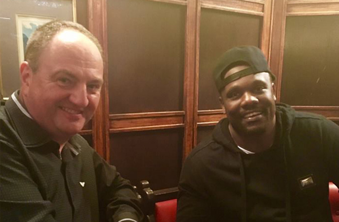 Steve Goodwin and Dereck Chisora. Photo credit: goodwinboxing.co.uk