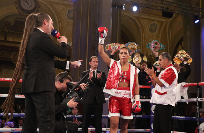 Cecilia Braekhus has set up a clash with Katie Taylor after defending her undisputed welterweight titles Credit: Matchroom Boxing