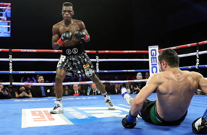Commey stopped Isa Chaniev in February to claim the IBF strap Credit: Mikey Williams/Top Rank