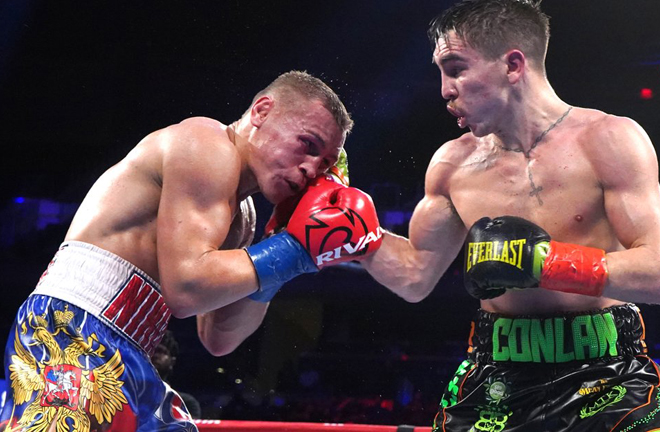 Michael Conlan avenged his 2016 Olympic loss to Vladimir Nikitin at Madison Square Garden Credit: BBC NI