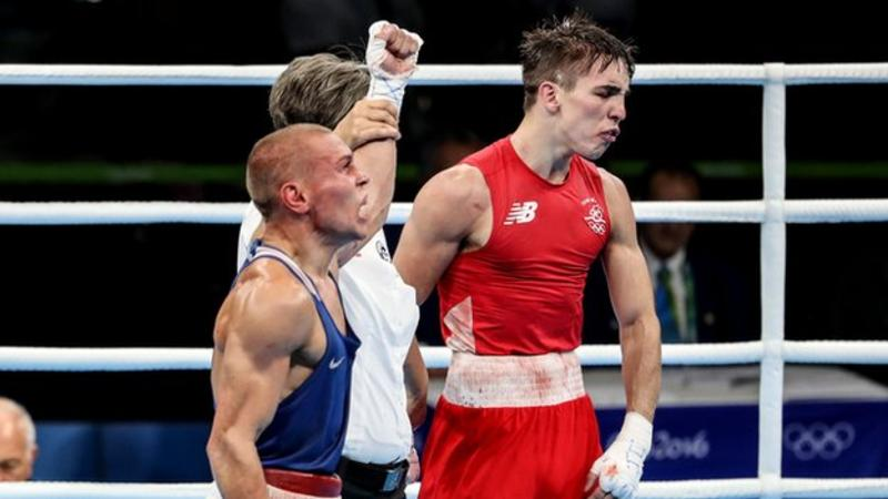 Michael Conlan rematches Vladimir Nikitin after their controversial fight in the Olympics Credit: BBC Sport
