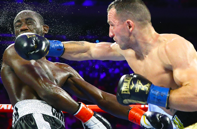 Kavaliauskas gave Crawford problems before succumbing to a ninth round KO Credit: Top Rank