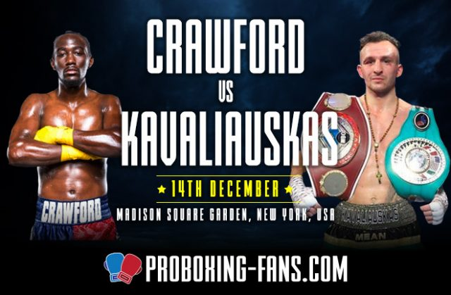 Terence Crawford makes a third defence of his WBO world welterweight title at Madison Square Garden