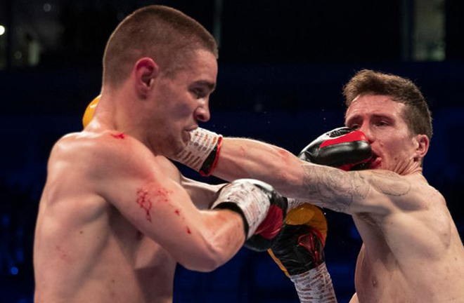 Joe Hughes challenges for the European Super Lightweight title he lost to Robbie Davies Jr in March Credit: Sky Sports