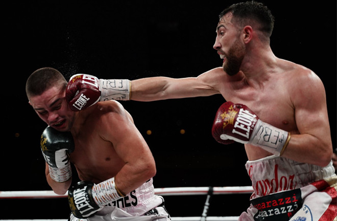 Sandor Martin battled past Joe Hughes to retain his European strap Credit: Matchroom Boxing
