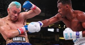 Julio Cesar Chavez Jr withdrew after five rounds allowing Daniel Jacobs to claim victory on Friday night in Arizona.