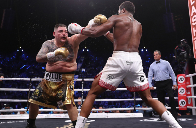 Joshua kept Ruiz Jr frustrated at distance throughout a dominant 12 rounds Credit: Matchroom Boxing