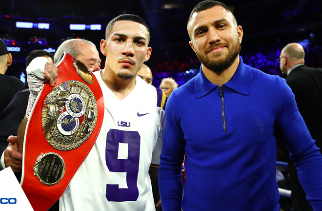 Teofimo Lopez is set to face Vasily Lomachenko in an undisputed fight in 2020 after beating Richard Commey Credit: Top Rank