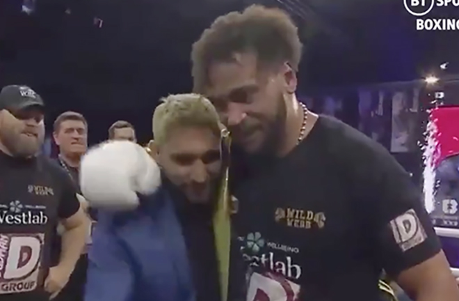 Golden Robe Winner - Nick Webb embraces with Amir Khan after winning Ultimate Boxxer 6 last night.