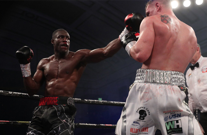 Riakporhe and Massey were involved in a scrappy affair at York Hall Credit: Matchroom Boxing