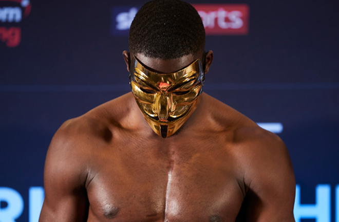 Riakporhe donned a Deontay Wilder-esque mask ahead of his British title fight with Jack Massey Credit: Matchroom Boxing