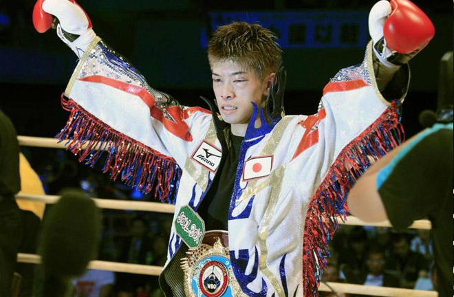 Kosei Tanaka celebrating after defending his WBO flyweight world title. Photo credit: Japan Times