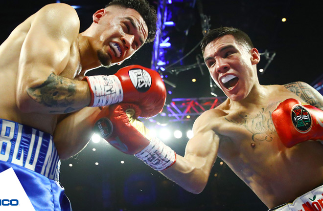 Oscar Valdez stepped up in weight to stop late replacement Adam Lopez Credit: Top Rank