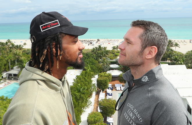 Demetrius Andrade and Luke Keeler faced off in Miami ahead of their WBO middleweight title clash Credit: Ed Mulholland/Matchroom Boxing USA