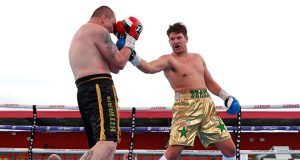James Branch Jr en route to victory against Jan Hrazdira. Photo credit: Boxing News